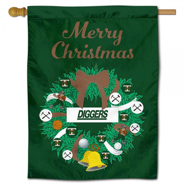 M Tech Diggers Happy Holidays Banner Flag measures 30x40 inches, is made of poly, has a top hanging sleeve, and offers dye sublimated M Tech Diggers logos. This Decorative M Tech Diggers Happy Holidays Banner Flag is officially licensed by the NCAA.