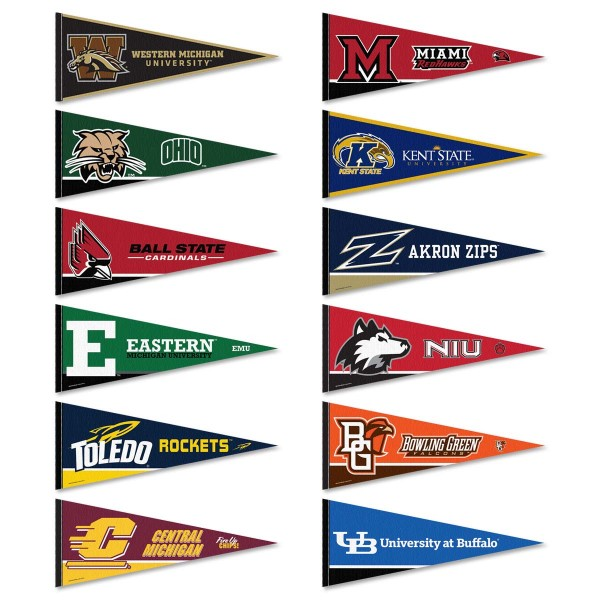 MAC Conference Pennants consists of all Mid-American school pennants and measure 12x30 inches. All 12 MAC Conference teams are included and the MAC Conference Pennants is officially licensed by the NCAA and selected conference schools.