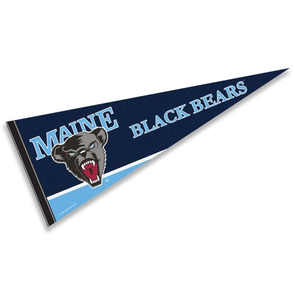 Maine Black Bears Decorations consists of our full size pennant which measures 12x30 inches, is constructed of felt, is single sided imprinted, and offers a pennant sleeve for insertion of a pennant stick, if desired. This Maine Black Bears Decorations is officially licensed by the selected university and the NCAA