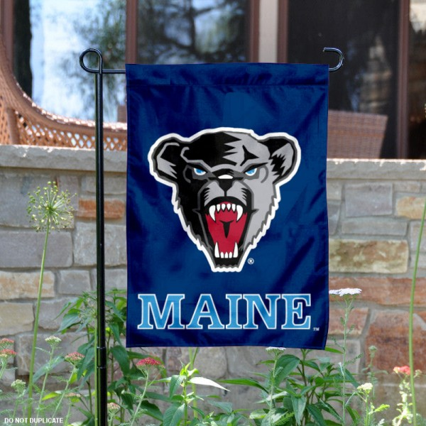 Maine Black Bears Garden Flag is 13x18 inches in size, is made of 2-layer polyester, screen printed Maine Black Bears athletic logos and lettering. Available with Same Day Express Shipping, Our Maine Black Bears Garden Flag is officially licensed and approved by Maine Black Bears and the NCAA.