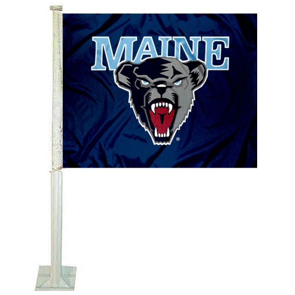 Maine Black Bears Logo Car Flag measures 12x15 inches, is constructed of sturdy 2 ply polyester, and has screen printed school logos which are readable and viewable correctly on both sides. Maine Black Bears Logo Car Flag is officially licensed by the NCAA and selected university.