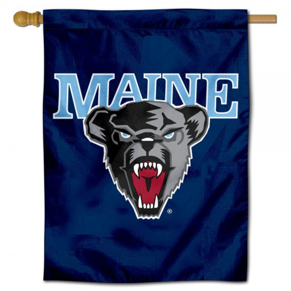 Maine Black Bears Logo Double Sided House Flag is a vertical house flag which measures 30x40 inches, is made of 2 ply 100% polyester, offers screen printed NCAA team insignias, and has a top pole sleeve to hang vertically. Our Maine Black Bears Logo Double Sided House Flag is officially licensed by the selected university and the NCAA.