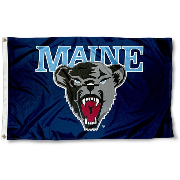 Maine Black Bears Logo Flag measures 3'x5', is made of 100% poly, has quadruple stitched sewing, two metal grommets, and has double sided Team University logos. Our Maine Black Bears 3x5 Flag is officially licensed by the selected university and the NCAA.