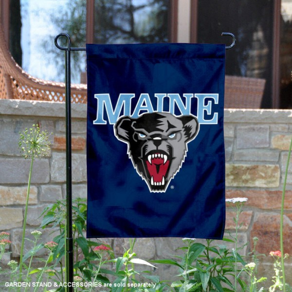 Maine Black Bears Logo Garden Flag is 13x18 inches in size, is made of 2-layer polyester, screen printed university athletic logos and lettering, and is readable and viewable correctly on both sides. Available same day shipping, our Maine Black Bears Logo Garden Flag is officially licensed and approved by the university and the NCAA.