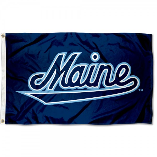 Maine Black Bears Script Flag measures 3x5 feet, is made of 100% polyester, offers quadruple stitched flyends, has two metal grommets, and offers screen printed NCAA team logos and insignias. Our Maine Black Bears Script Flag is officially licensed by the selected university and NCAA.
