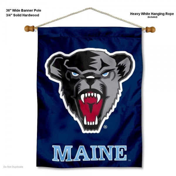 "Maine Black Bears Wall Banner is constructed of polyester material, measures a large 30""x40"", offers screen printed athletic logos, and includes a sturdy 3/4"" diameter and 36"" wide banner pole and hanging cord. Our Maine Black Bears Wall Banner is Officially Licensed by the selected college and NCAA."
