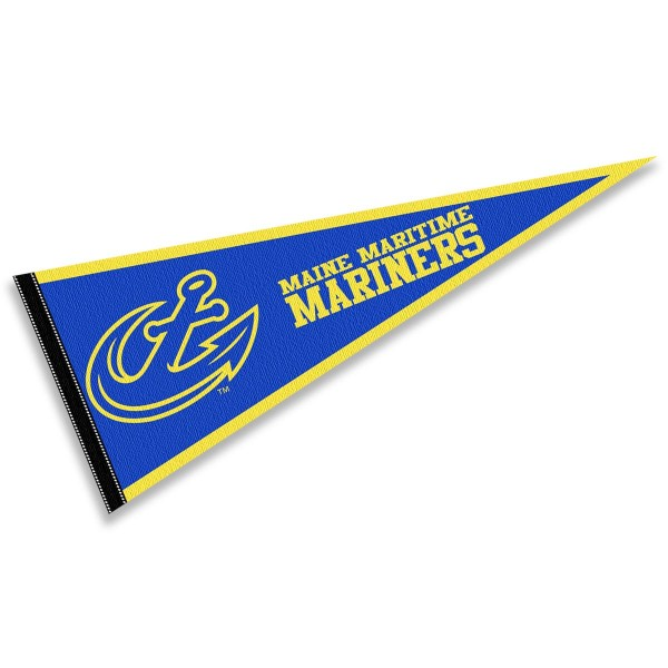 Maine Maritime Academy Mariners Pennant consists of our full size sports pennant which measures 12x30 inches, is constructed of felt, is single sided imprinted, and offers a pennant sleeve for insertion of a pennant stick, if desired. This Maine Maritime Academy Mariners Pennant Decorations is Officially Licensed by the selected university and the NCAA.
