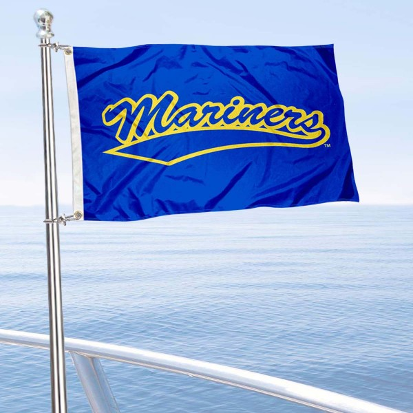 Maine Maritime Mariners Boat and Mini Flag is 12x18 inches, polyester, offers quadruple stitched flyends for durability, has two metal grommets, and is double sided. Our mini flags for Maine Maritime Academy are licensed by the university and NCAA and can be used as a boat flag, motorcycle flag, golf cart flag, or ATV flag.