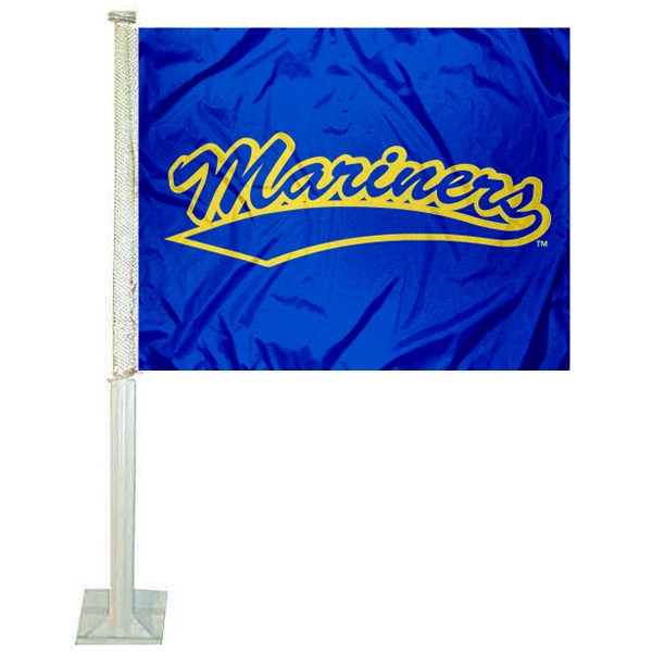 Maine Maritime Mariners Logo Car Flag measures 12x15 inches, is constructed of sturdy 2 ply polyester, and has screen printed school logos which are readable and viewable correctly on both sides. Maine Maritime Mariners Logo Car Flag is officially licensed by the NCAA and selected university.