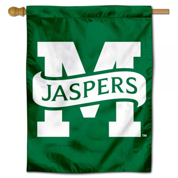 Manhattan Jaspers Double Sided House Flag is a vertical house flag which measures 30x40 inches, is made of 2 ply 100% polyester, offers screen printed NCAA team insignias, and has a top pole sleeve to hang vertically. Our Manhattan Jaspers Double Sided House Flag is officially licensed by the selected university and the NCAA.