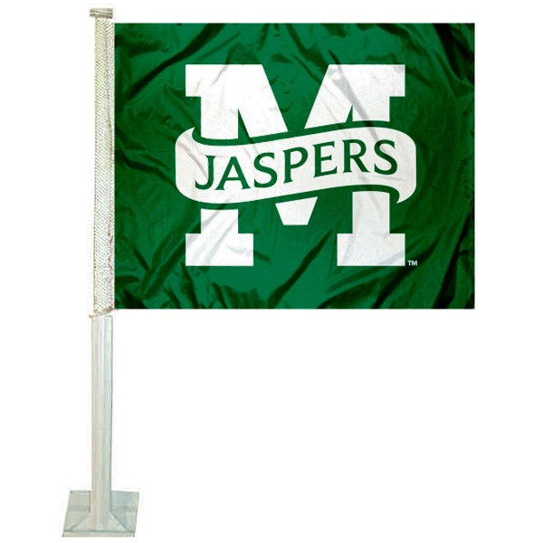 Manhattan Jaspers Logo Car Flag measures 12x15 inches, is constructed of sturdy 2 ply polyester, and has screen printed school logos which are readable and viewable correctly on both sides. Manhattan Jaspers Logo Car Flag is officially licensed by the NCAA and selected university.