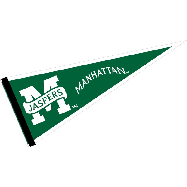 Manhattan Jaspers Pennant consists of our full size sports pennant which measures 12x30 inches, is constructed of felt, is single sided imprinted, and offers a pennant sleeve for insertion of a pennant stick, if desired. This Manhattan Jaspers Pennant Decorations is Officially Licensed by the selected university and the NCAA.