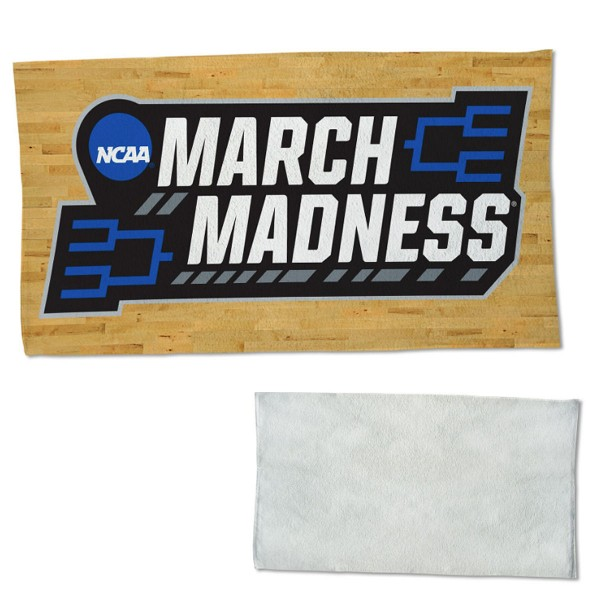 March Madness On Court Towel measures 22x42 inches, is made of 100% Polyester on the front and 100% Cotton on the back, has double stitched sewing perimeter, and Graphics and Logos, as shown. Our March Madness On Court Towel is officially licensed by the selected university and the NCAA. Also, machine washable and dryer safe.
