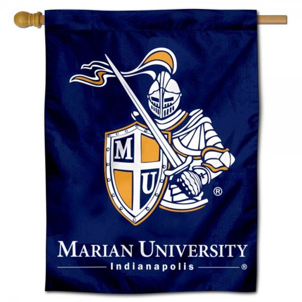 Marian Knights Double Sided House Flag is a vertical house flag which measures 30x40 inches, is made of 2 ply 100% polyester, offers screen printed NCAA team insignias, and has a top pole sleeve to hang vertically. Our Marian Knights Double Sided House Flag is officially licensed by the selected university and the NCAA.