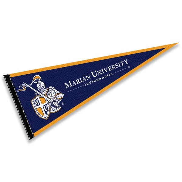 Marian Knights Pennant consists of our full size sports pennant which measures 12x30 inches, is constructed of felt, is single sided imprinted, and offers a pennant sleeve for insertion of a pennant stick, if desired. This Marian Knights Pennant Decorations is Officially Licensed by the selected university and the NCAA.