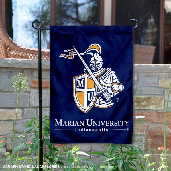 Marian University Academic Logo Garden Flag is 13x18 inches in size, is made of 2-layer polyester, screen printed university athletic logos and lettering, and is readable and viewable correctly on both sides. Available same day shipping, our Marian University Academic Logo Garden Flag is officially licensed and approved by the university and the NCAA.