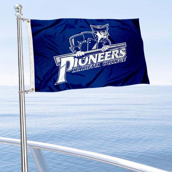 Marietta College Pioneers Boat and Mini Flag is 12x18 inches, polyester, offers quadruple stitched flyends for durability, has two metal grommets, and is double sided. Our mini flags for Marietta College are licensed by the university and NCAA and can be used as a boat flag, motorcycle flag, golf cart flag, or ATV flag.