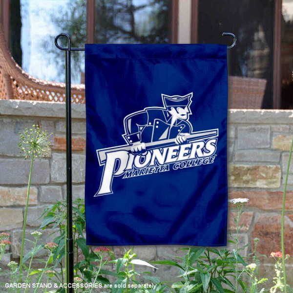 Marietta College Pioneers Garden Flag is 13x18 inches in size, is made of 2-layer polyester, screen printed university athletic logos and lettering, and is readable and viewable correctly on both sides. Available same day shipping, our Marietta College Pioneers Garden Flag is officially licensed and approved by the university and the NCAA.