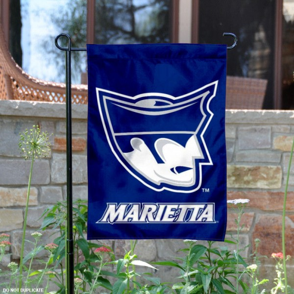 Marietta College Pioneers Logo Garden Flag is 13x18 inches in size, is made of 2-layer polyester with liner, screen printed athletic logos and lettering. Available with Same Day Overnight Express Shipping, Our Marietta College Pioneers Logo Garden Flag is officially licensed and approved by the university, college and the NCAA.