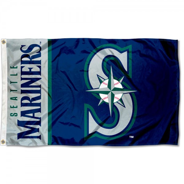 The Mariners Outdoor Flag is four-stitched bordered, double sided, made of poly, 3'x5', and has two grommets. These Seattle Mariners Outdoor Flags are MLB Genuine Merchandise.