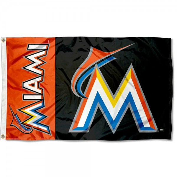 The Marlins Outdoor Flag is four-stitched bordered, double sided, made of poly, 3'x5', and has two grommets. These Miami Marlins Outdoor Flags are MLB Genuine Merchandise.