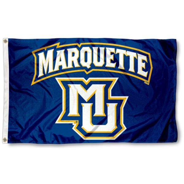 Marquette Flag is made of nylon, measures 3'x5', offers four stitched flyends for durability, has two metal grommets, and is viewable from both sides with a reverse image on the opposite side. Our Marquette Flag is officially licensed by the selected university and the NCAA.