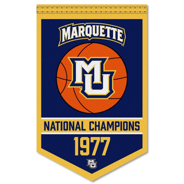 Marquette Golden Eagles Basketball National Champions Banner consists of our sports dynasty year banner which measures 15x24 inches, is constructed of rigid felt, is single sided imprinted, and offers a pennant sleeve for insertion of a pennant stick, if desired. This sports banner is a unique collectible and keepsake of the legacy game and is Officially Licensed and University, School, and College Approved.