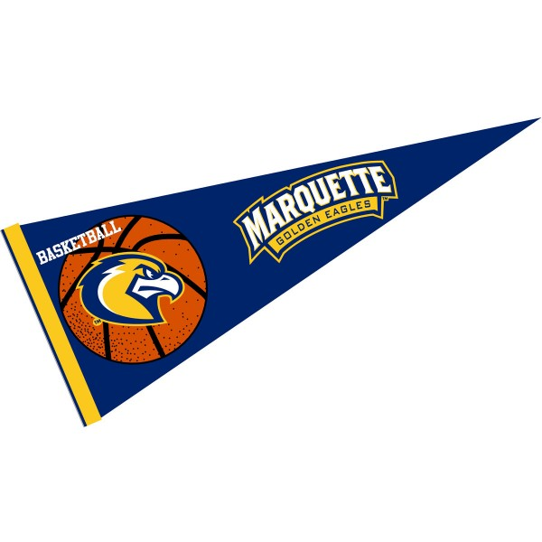 Marquette Golden Eagles Basketball Pennant consists of our full size sports pennant which measures 12x30 inches, is constructed of felt, is single sided imprinted, and offers a pennant sleeve for insertion of a pennant stick, if desired. This Marquette Golden Eagles Pennant Decorations is Officially Licensed by the selected university and the NCAA.