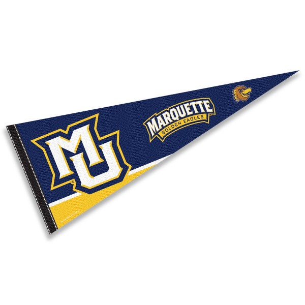 Marquette Golden Eagles Decorations consists of our full size pennant which measures 12x30 inches, is constructed of felt, is single sided imprinted, and offers a pennant sleeve for insertion of a pennant stick, if desired. This Marquette Golden Eagles Decorations is officially licensed by the selected university and the NCAA