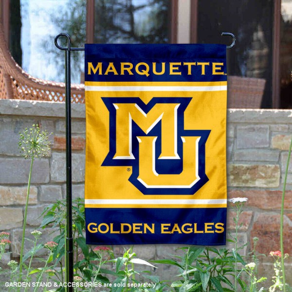 Marquette Golden Eagles Garden Flag is 13x18 inches in size, is made of 2-layer polyester, screen printed logos and lettering. Available with Same Day Express Shipping, Our Marquette Golden Eagles Garden Flag is officially licensed and approved by the NCAA.