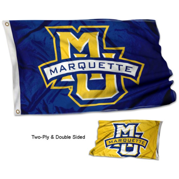 Marquette Golden Eagles Two Logo Double Sided Flag measures 3x5, is made thick 100% polyester, has two stitched flyends for durability, and is readable correctly on both sides. Our Marquette Golden Eagles Two Logo Double Sided Flag is officially licensed by the university, school, and the NCAA.