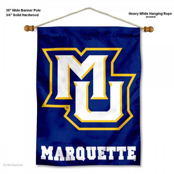 "Marquette Golden Eagles Wall Banner is constructed of polyester material, measures a large 30""x40"", offers screen printed athletic logos, and includes a sturdy 3/4"" diameter and 36"" wide banner pole and hanging cord. Our Marquette Golden Eagles Wall Banner is Officially Licensed by the selected college and NCAA."