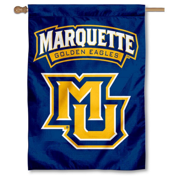Marquette House Flag is a vertical house flag which measures 28x40 inches, is made of 100% 2-layer with liner nylon, offers screen printed college team insignias, and has a top pole sleeve to hang vertically. Our Marquette House Flag is officially licensed by the selected university and the NCAA.