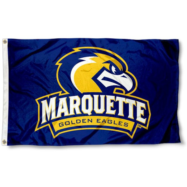Marquette Logo Outdoor Flag measures 3'x5', is made of 100% poly, has quadruple stitched sewing, two metal grommets, and has double sided Marquette University logos. Our Marquette University Logo Outdoor Flag is officially licensed by the selected university and the NCAA.