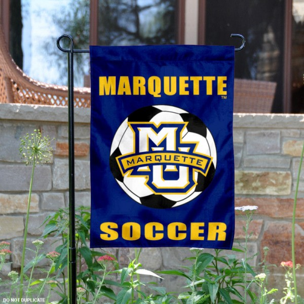 Marquette MU Soccer Yard Flag is 13x18 inches in size, is made of 2-layer polyester, screen printed Marquette University Soccer athletic logos and lettering. Available with Same Day Express Shipping, Our Marquette MU Soccer Yard Flag is officially licensed and approved by Marquette University Soccer and the NCAA.