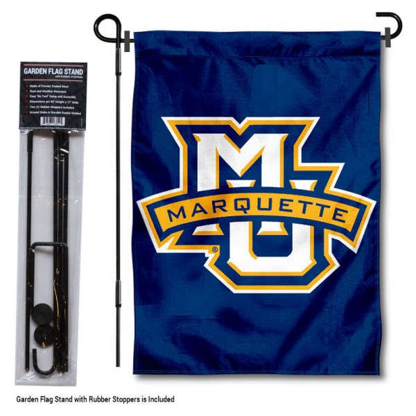 "Marquette University Garden Flag and Stand kit includes our 13""x18"" garden banner which is made of 2 ply poly with liner and has screen printed licensed logos. Also, a 40""x17"" inch garden flag stand is included so your Marquette University Garden Flag and Stand is ready to be displayed with no tools needed for setup. Fast Overnight Shipping is offered and the flag is Officially Licensed and Approved by the selected team."