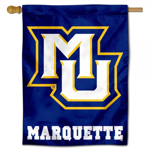 "Marquette University House Flag is constructed of polyester material, is a vertical house flag, measures 30""x40"", offers screen printed athletic insignias, and has a top pole sleeve to hang vertically. Our Marquette University House Flag is Officially Licensed by Marquette University and NCAA."