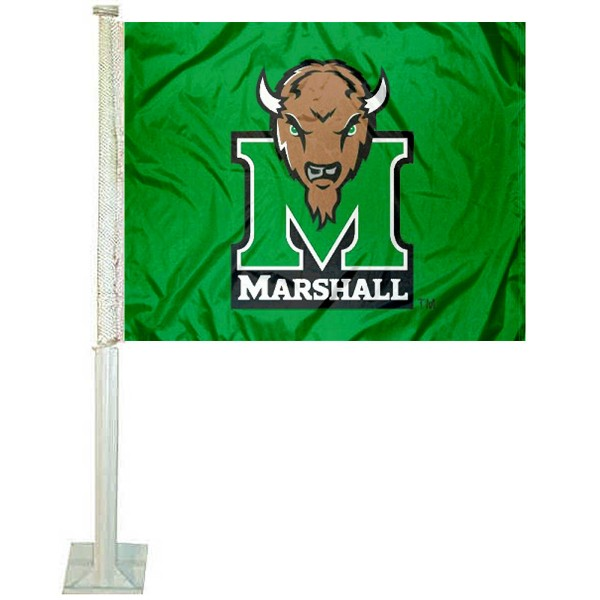 Marshall Thundering Herd Car Window Flag measures 12x15 inches, is constructed of sturdy 2 ply polyester, and has screen printed school logos which are readable and viewable correctly on both sides. Marshall Thundering Herd Car Window Flag is officially licensed by the NCAA and selected university.