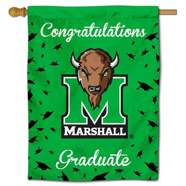 Marshall Thundering Herd Congratulations Graduate Flag measures 30x40 inches, is made of poly, has a top hanging sleeve, and offers dye sublimated Marshall Thundering Herd logos. This Decorative Marshall Thundering Herd Congratulations Graduate House Flag is officially licensed by the NCAA.