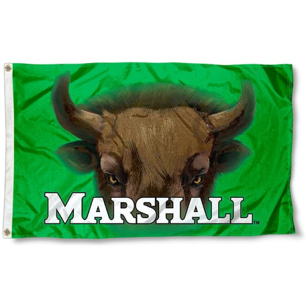 Marshall Thundering Herd Eye Flag measures 3'x5', is made of 100% poly, has quadruple stitched sewing, two metal grommets, and has double sided Team University logos. Our Marshall Thundering Herd 3x5 Flag is officially licensed by the selected university and the NCAA.