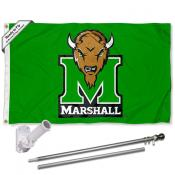 Marshall Thundering Herd Kelly Green Flag Pole and Bracket Kit