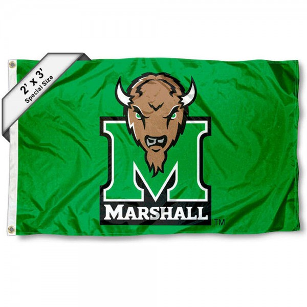 Marshall Thundering Herd Small 2'x3' Flag measures 2x3 feet, is made of 100% polyester, offers quadruple stitched flyends, has two brass grommets, and offers printed Marshall Thundering Herd logos, letters, and insignias. Our 2x3 foot flag is Officially Licensed by the selected university.