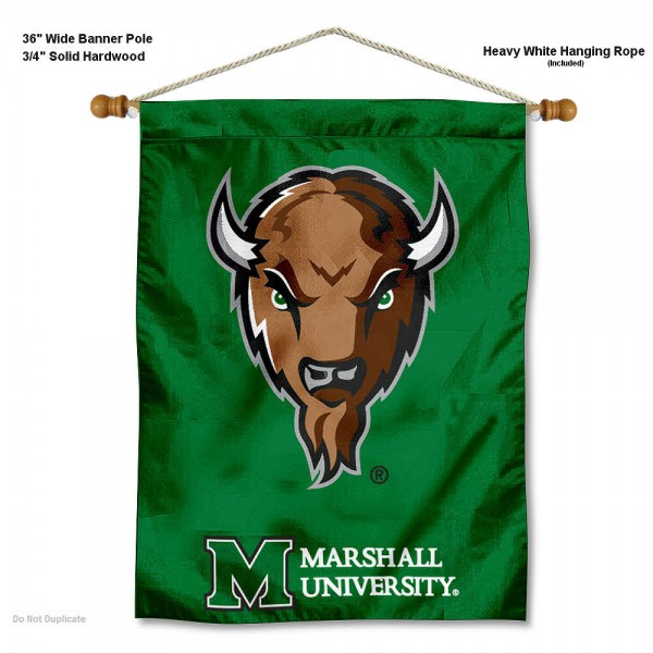 "Marshall Thundering Herd Wall Banner is constructed of polyester material, measures a large 30""x40"", offers screen printed athletic logos, and includes a sturdy 3/4"" diameter and 36"" wide banner pole and hanging cord. Our Marshall Thundering Herd Wall Banner is Officially Licensed by the selected college and NCAA."