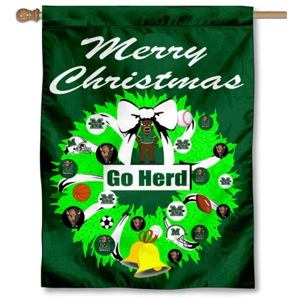 Marshall University Holiday Flag is a decorative house flag, 30x40 inches, made of 100% polyester, Holiday NCAA team insignias, and has a top pole sleeve to hang vertically. Our Marshall University Holiday Flag is officially licensed by the selected university and the NCAA.