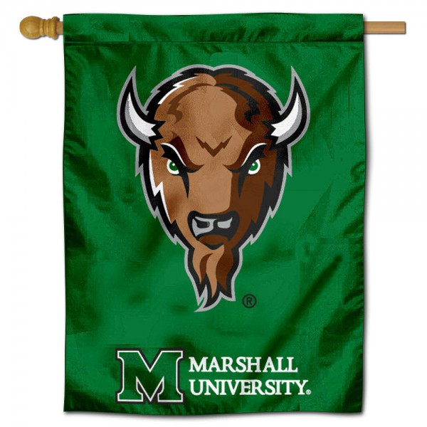 """Marshall University House Flag is constructed of polyester material, is a vertical house flag, measures 30""""x40"""", offers screen printed athletic insignias, and has a top pole sleeve to hang vertically. Our Marshall University House Flag is Officially Licensed by the Herd and NCAA."""
