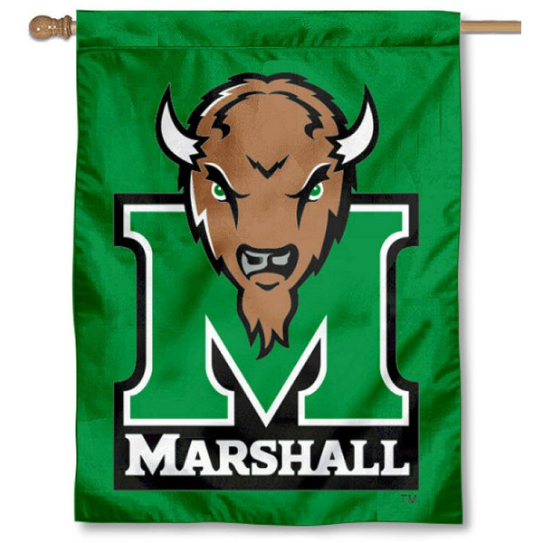 "Marshall University Kelly Green House Flag measures 30""x40"", is made of two-ply 100% polyester, offers screen printed NCAA team insignias, and has a pole sleeve to hang this flag vertically. Our Marshall University Kelly Green House Flag is officially licensed by the selected university and the NCAA"