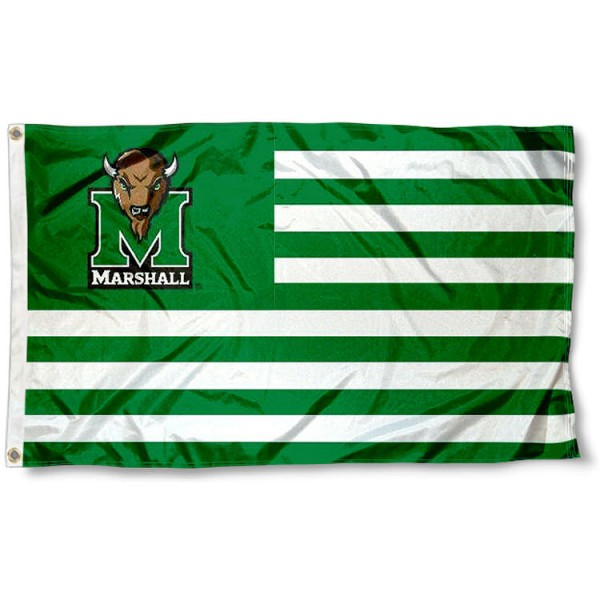 Marshall University Stripes Flag measures 3'x5', is made of polyester, offers double stitched flyends for durability, has two metal grommets, and is viewable from both sides with a reverse image on the opposite side. Our Marshall University Stripes Flag is officially licensed by the selected school university and the NCAA.