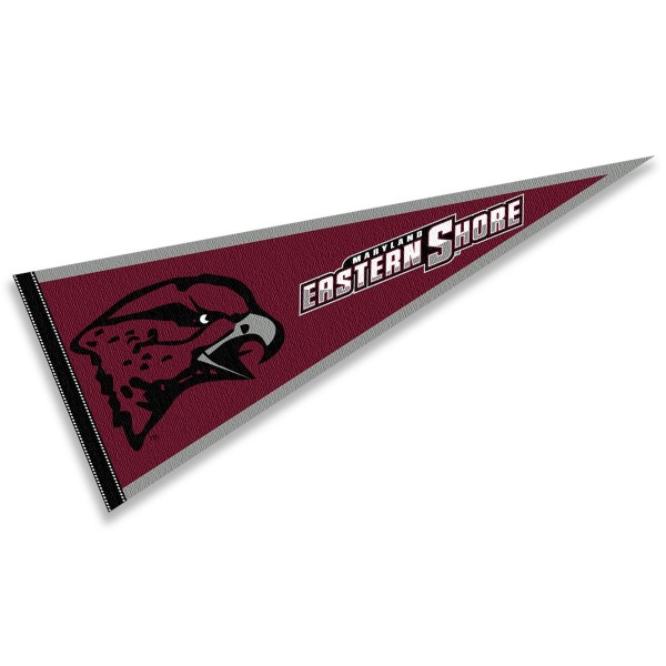 Maryland Eastern Shore Hawks Pennant consists of our full size sports pennant which measures 12x30 inches, is constructed of felt, is single sided imprinted, and offers a pennant sleeve for insertion of a pennant stick, if desired. This Maryland Eastern Shore Hawks Pennant Decorations is Officially Licensed by the selected university and the NCAA.