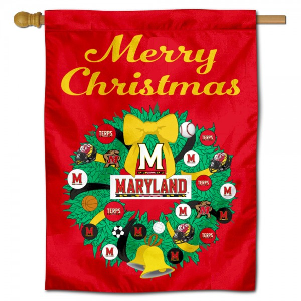 Maryland Terps Happy Holidays Banner Flag measures 30x40 inches, is made of poly, has a top hanging sleeve, and offers dye sublimated Maryland Terps logos. This Decorative Maryland Terps Happy Holidays Banner Flag is officially licensed by the NCAA.