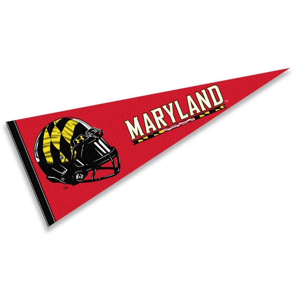 Maryland Terps Helmet Pennant consists of our full size sports pennant which measures 12x30 inches, is constructed of felt, is single sided imprinted, and offers a pennant sleeve for insertion of a pennant stick, if desired. This Maryland Terps Pennant Decorations is Officially Licensed by the selected university and the NCAA.